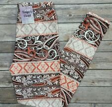 Ornate Leggings Abstract Swirls Leaves Tan Brown Orange Print ONE SIZE OS