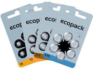 60 x VARTA ecopack HörgeräteBatterien Knopfzelle Typ 10-13-312-675 für Hörgerät