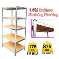 5 Tier (180cm x 90cm x 30cm) Heavy Duty Metal Galvanised Shelving Rack Unit UKDC