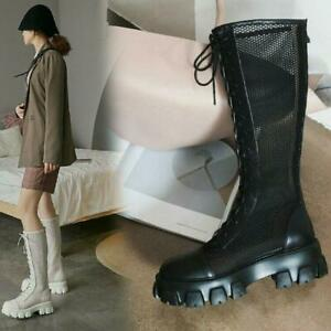 Womens Fashion Leather Mesh Lace Up Chunky Heel Knee High Combat Boots Shoes MON