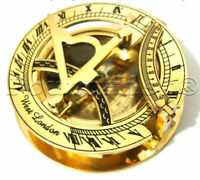 NAUTICAL BRASS POCKET SUNDIAL WITH MAGNETIC COMPASS-NAUTICAL gift