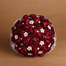Handmade Bride Flower Wedding Bouquet Crystal Bridesmaid Posy Burgundy Rose #2
