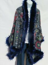 Yak+Sheep Wool Blend|Cape|Wrap|Handcrafted|Handloomed|Faux Fur|Blue / Light Blue