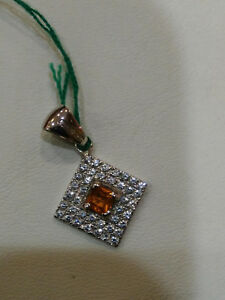 Pendant Zirconate With Topaz Yellow, White Gold 18KT , New, Grams 2,60