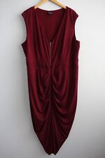 City Chic Sleeveless Ruched Pleating V neck Exposed Zip Maroon Dress sz XL