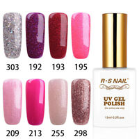 RS Nail Gel Nail Polish UV LED Varnish Soak Off Glitter Colours 15ml