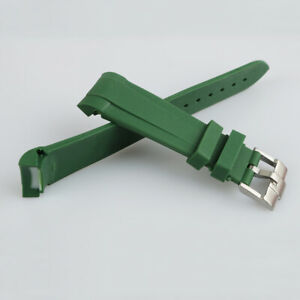 22mm Green Rubber Wrist Watch Band Strap With Silver Buckle For Tudor Black Bay