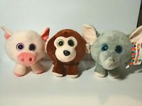 New Big Head Pig Monkey Elephant Sparkling Eyes Plush Paradise Lot of 3