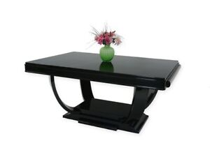 Tisch Esstisch Esszimmertisch Art Deco um 1925 hochglanz schwarz L: 166cm (4354)
