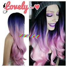 Purple Pink Rainbow Hair. Straight Lace Front Wig. Human