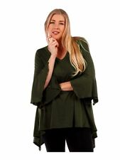 Womens Olive Green Sharkbite Bell Sleeves Asym Top Yummy Plus Size 4X