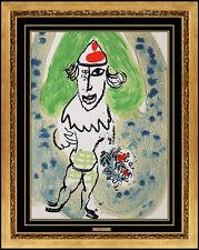 Marc CHAGALL Rare Color Lithograph Original Jester Authentic Flowers Artwork SBO