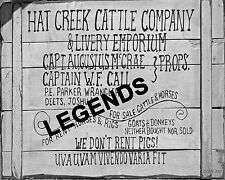 "LONESOME DOVE  ""Hat Creek Cattle Company & Livery Emporium"" 11""x14"" Photo"