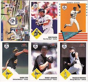 2003 FLEER TRADITION Pepsi Pitch, Hit & Run Baseball Card Sheet PIAZZA, JOHNSON