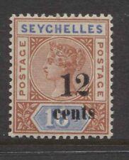 SEYCHELLES - 1893 QV 12c ON 16c DIE II SURCHARGE MINT SG.17.  (REF.D353)