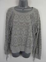 WOMENS SUPERDRY GREY PATTERNED FRINGED LONG SLEEVED JUMPER PULL OVER SIZE SMALL