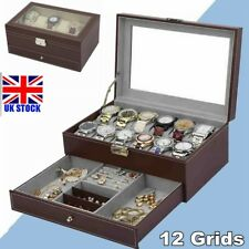 Watch Box Organizer 12 Mens Jewelry Display Holder Drawer Glass PU Leather Brown