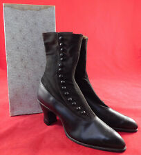 Vintage Edwardian Unworn Womens Black Cloth Wool Leather High Top Button Boots