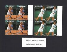 St. Vincent #990-1 blocks of 4 MNH TENNIS BALL OMITTED ERROR ON ALL 8 STAMPS