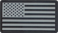 Silver & Black PVC US Flag Patch Military American Flag Patch