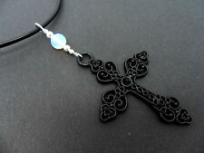 """A LADIES GIRLS LEATHER CORD 18""""  BLACK CROSS OPALITE BEAD NECKLACE. NEW."""