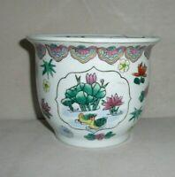 "Vintage Ceramic Asian Style Flower Pot Planter Pond & Floral Design 4.25"" T 5.5"""