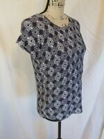 Loft By Ann Taylor Womens Size XS Blouse Short Sleeve Scoop Neck Geometric Blue