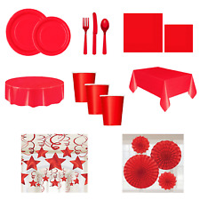 Red Tableware Party Event Catering Plates Cups Tablecloth Decorations