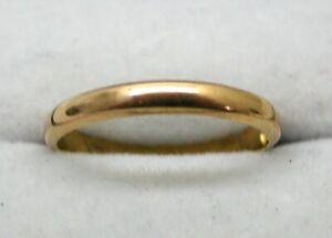 1920's Vintage 22 carat Gold Plain Narrow Wedding Ring Size O.1/2