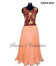 Bollywood Designer Indian Pakistani-Maroon-peach traditional gown-Salwar Kameez