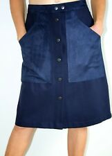 Witchery Navy blue button up skirt with pockets size 12