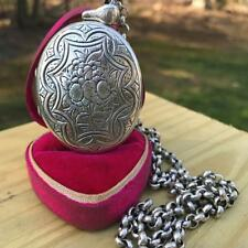 Antique Victorian sterling silver Large Locket Chain Pendant Necklace