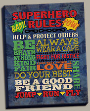 Superhero Rules; Great for a Childs Room or Nursery; 1-11x14in Canvas