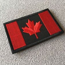 Embroidered Canada Canadian Flag Tactical Morale Hook Loop Patch Red/Black