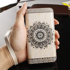 Retro Pattern Leather Flip Wallet Phone Case Cover for iPhone 6s 7 Plus Samsung
