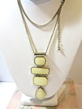 Contemporary Necklace Gold Tone Articulated Pale Yellow Long Drop Pendant