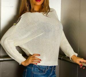 SeXy MiSS Damen Trendy Strick Pulli Glitzer Lurex Pullover 34/36/38 creme gold