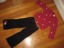 Gymboree Happy Panda OUTFIT Size 4 red shirt black velour pants polka dot set 4T
