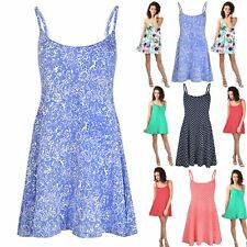 Women Plus Size Swing Dress Ladies Polka Dots Thin Strappy Camisole 50's Vintage