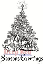 Deep Red Stamps Season's Greetings Tree Rubber Cling Stamp