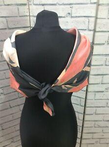 "Pure Silk Scarf Vintage Pente a la Main Floral Design 35""sq hand rolled edges"