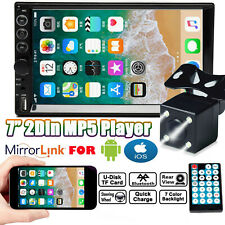 Camera Bluetooth Stereo Radio Car 7'' 2 DIN MP5 Touch Screen Mirror Link For GPS
