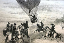 M. Issandier Balloon from PARIS to DREUX France 1870 Antique Art Print Matted