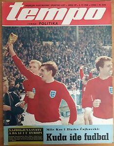 SPORTS MAGAZINE TEMPO 1968 - ENGLAND TEAM 1966 COVER, EURO CUP 1968 ANNOUNCEMENT