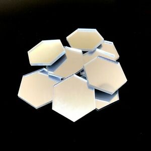 Hexagon Shaped Crafting Mirrors, Set of 10, Many Colours, Shatterproof Acrylic