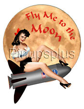 Sexy Pinup Girl waterslide Decal Sticker NASA Rocket Fly me to the Moon S318