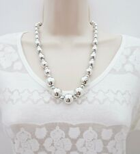 Graduated Silver Tone Necklace and Earring Jewellery Set Plastic Beads