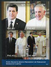 Palau 2014 MNH Pope Francis Horacio Cartes President Paraguay 4v M/S I Stamps