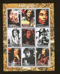 Turkménistan Musicien Bob Marley Commémorative Souvenir Tampon Feuille