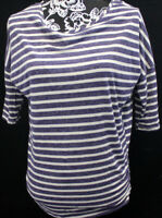 HIP - Happening Women's size Large Chic Blue & White PULLOVER Top Shirt L